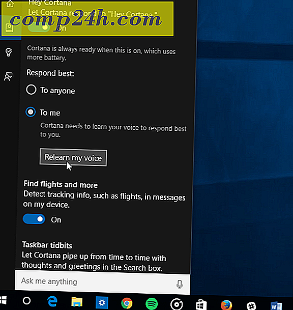 Tren Cortana i Windows 10 for å lære din stemme bedre