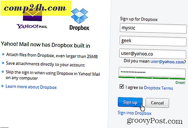Skicka stora filer i Yahoo Mail med Dropbox
