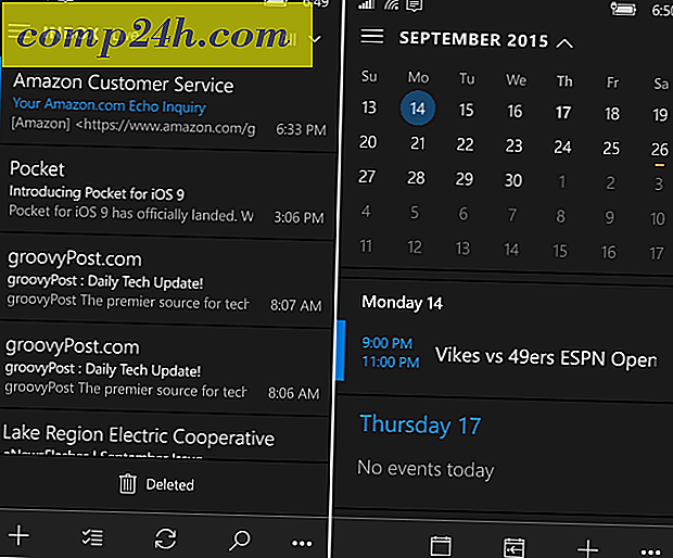 Outlook Mail och Kalender App på Windows 10 Mobile Gains Dark Theme